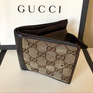 GUCCI Men's Brown GG Canvas and Leather Wallet